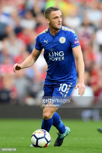Andy King of Leicester City in action during the Premier League match between Manchester United and Leicester City at Old Trafford on August 26 2017...