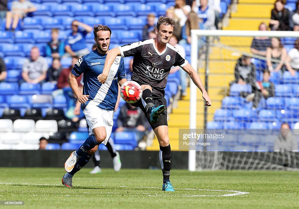 Andy King of Leicester City in action with Andrew Shinnie of Birmingham City during the pre-season friendly between Birmingham City and Leicester City at St Andrews (stadium) on August 1, 2015 in Birmingham, England.