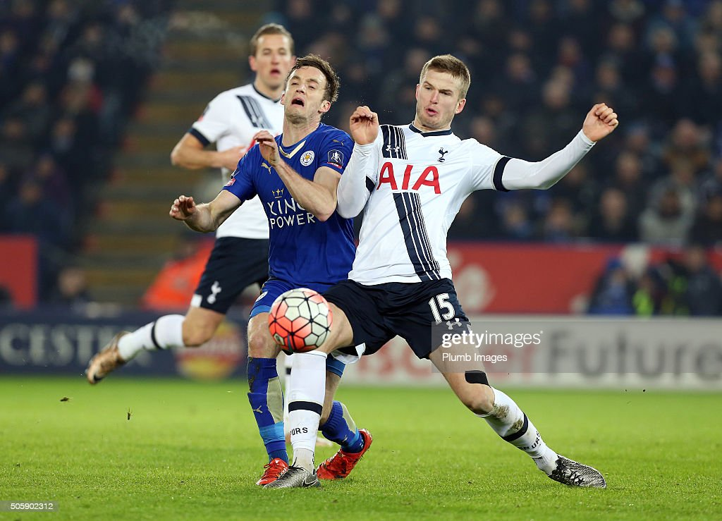 Andy King of Leicester City in action with Eric Dier of Tottenham Hotspur during The Emirates FA Cup Third Round Replay match between Leicester City and Tottenham at the King Power Stadium on January 20 , 2016 in Leicester, United Kingdom.