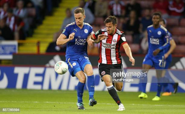 Andy King of Leicester City in action with George Baldock of Sheffield United during the Carabao Cup Second Round tie between Sheffield United and...
