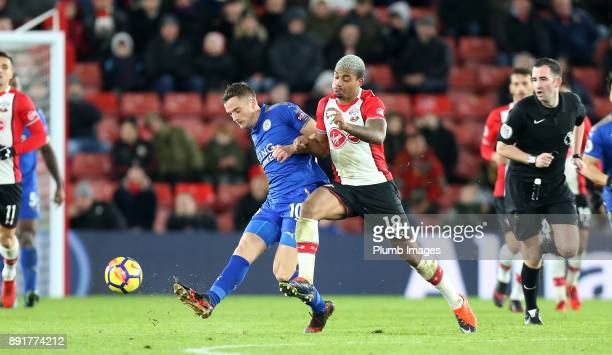 Andy King of Leicester city in action with Mario Lemina of Soutthampton during the Premier League match between Southampton and Leicester City at St...