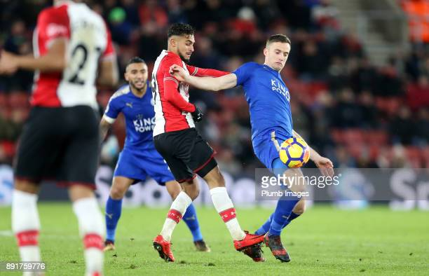 Andy King of Leicester city in action with Sofiane Boufal of Southampton during the Premier League match between Southampton and Leicester City at St...