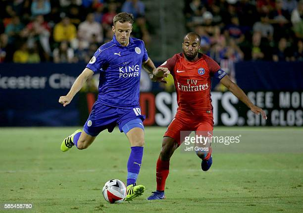 Andy King of Leicester City is pursued by Lucas of Paris SaintGermain during the 2016 International Champions Cup at StubHub Center on July 30 2016...