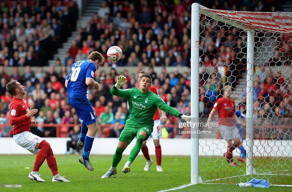 Andy King of Leicester City scores his sides second goal during the npower Championship match between Nottingham Forest and Leicester City at City Ground on May 4, 2013 in Nottingham, England.