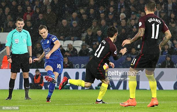 Andy King of Leicester City scores his sides second goal during the Premier League match between Leicester City and Manchester City at the King Power...