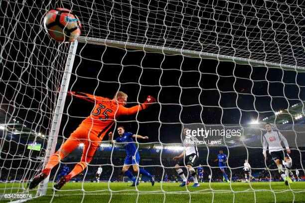 Andy King of Leicester City scores the opening goal past Jonathan Mitchell of Derby County during the Emirates FA Cup Fourth Round replay match...