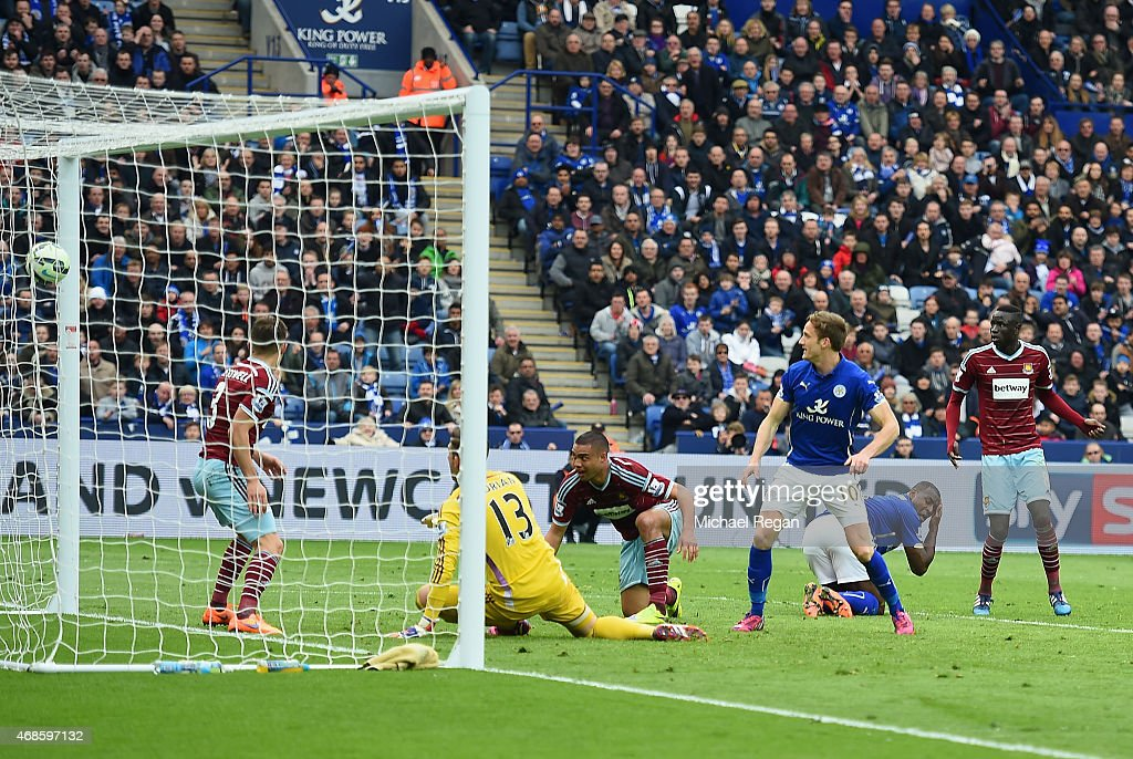 Andy King of Leicester City scores their second goal during the Barclays Premier league match Leicester City and West Ham United at The King Power Stadium on April 4, 2015 in Leicester, England.