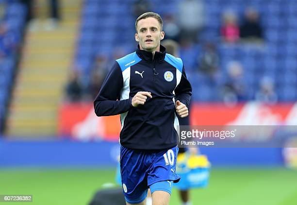 Andy King of Leicester City warms up at King Power Stadium ahead of the Premier League match between Leicester City and Burnley at the King Power...