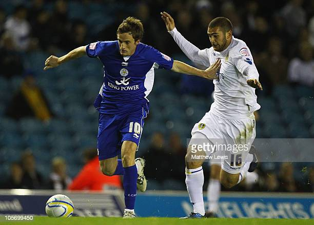 Andy King of Leicester holds off Bradley Johnson of Leeds during the npower Championship match between Leeds United and Leicester City at Elland Road...