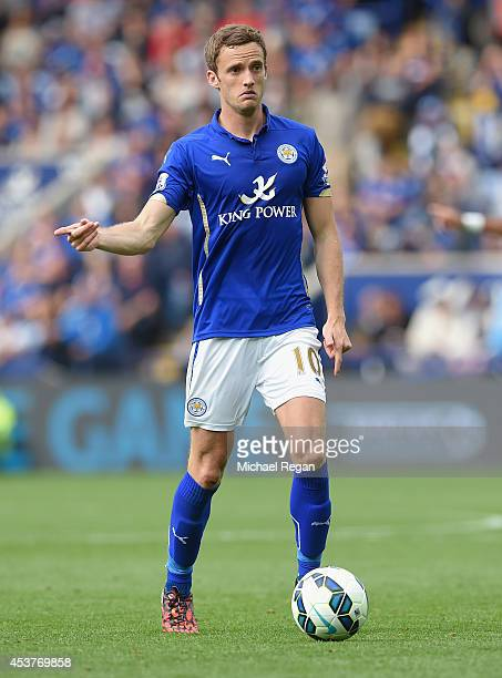 Andy King of Leicester in action during the Premier League match between Leicester City and Everton at The King Power Stadium on August 16 2014 in...