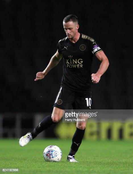 Andy King of Leicester in action during the preseason friendly match between MK Dons and Leicester City at StadiumMK on July 28 2017 in Milton Keynes...