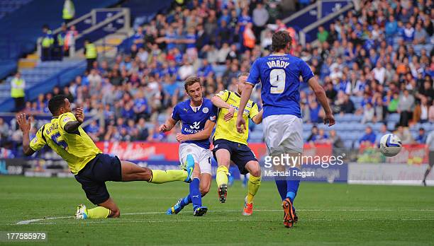 Andy King of Leicester scores to make it 21 during the Sky Bet Championship match between Leicester City and Birmingham City at The King Power...