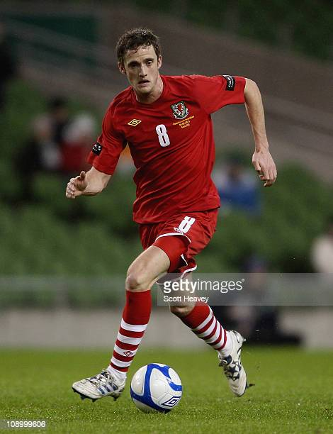 Andy King of Wales during the Carling Nations Cup between Republic of Ireland and Wales at Aviva Stadium on February 8 2011 in Dublin Ireland