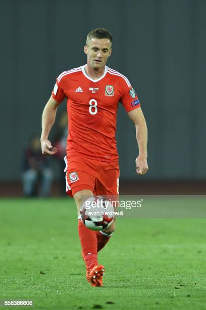 Andy King of Wales in action during the FIFA 2018 World Cup Qualifier between Georgia and Wales at Boris Paichadze Dinamo Arena Tbilisi Georgia on...