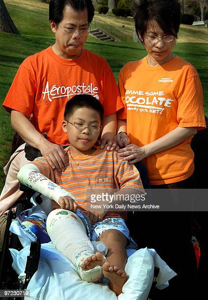 Andy Lao, who's still recuperating in a wheelchair after surviving a horrific van crash which killed his sister, swimmer April Lao, and three others...