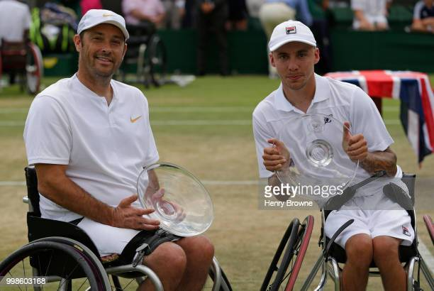 Andy Lapthorne of Great Britain and David Wagner of USA pose after winning the quad wheelchair doubles final at the All England Lawn Tennis and...