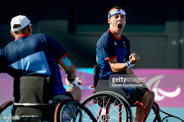 Andy Lapthorne of Great Britain celebrates during the Quad Doubles Wheelchair Tennis Gold Medal match on day 7 of the London 2012 Paralympic Games at...
