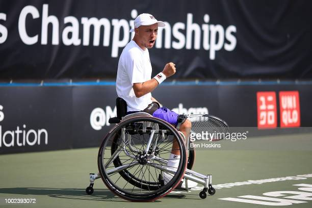 Andy Lapthorne of Great Britain celebrates winning a point during his quad semi final match against Koji Sugeno of Japan on day four of The British...