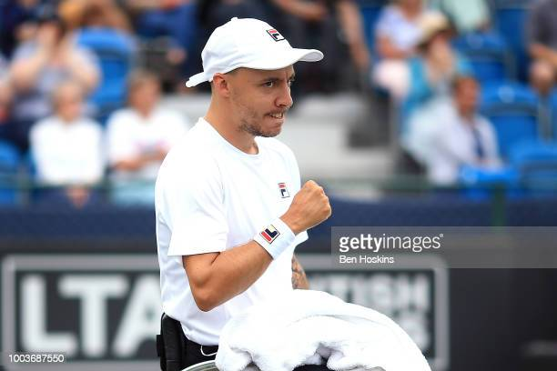 Andy Lapthorne of Great Britain celebrates winning a point during the the men's quad final against David Wagner of The USA on day six of The British...