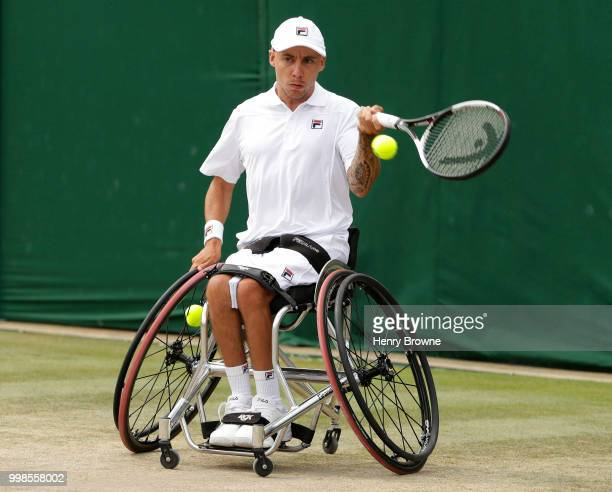 Andy Lapthorne of Great Britain during the quad wheelchair doubles final at the All England Lawn Tennis and Croquet Club on July 14 2018 in London...
