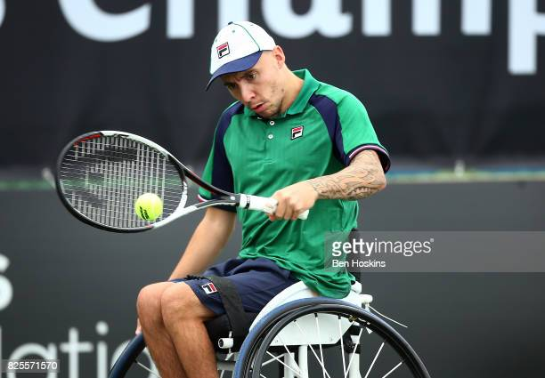 Andy Lapthorne of Great Britain in action during his match against Ymanitu Silva of Brazil on day two of the British Open Wheelchair Tennis on August...