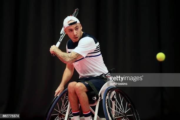 Andy Lapthorne of Great Britain in action during his match against Heath Davidson of Australia on day 2 of The NEC Wheelchair Tennis Masters at...