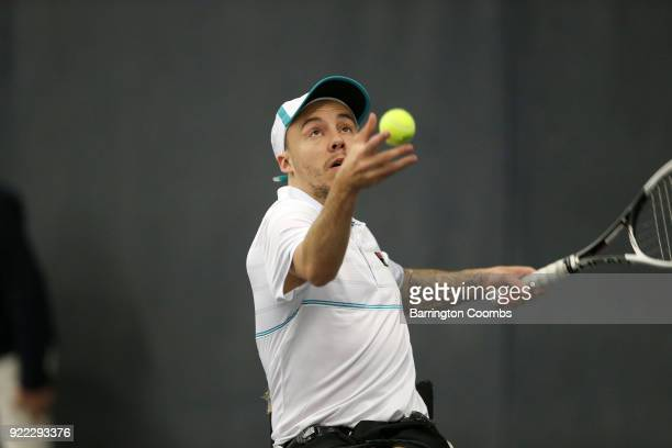 Andy Lapthorne of Great Britain in action during the 2018 Bolton Indoor Wheelchair Tennis Tournament at Bolton Arena on February 21 2018 in Bolton...