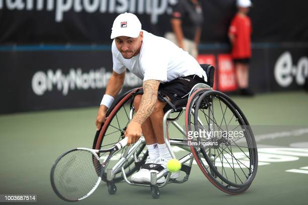 Andy Lapthorne of Great Britain plays a backhand during the the men's quad final against David Wagner of The USA on day six of The British Open...