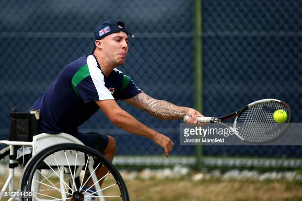 Andy Lapthorne of Great Britain plays a forehand during his Quad Singles Final match against David Wagner of the USA during day three of the Surbiton...