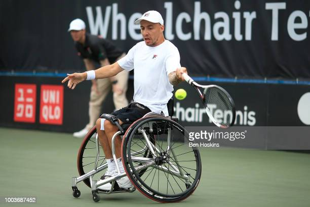Andy Lapthorne of Great Britain plays a forehand during the the men's quad final against David Wagner of The USA on day six of The British Open...