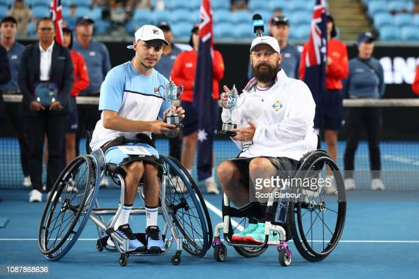 Andy Lapthorne of Great Britain poses with David Wagner of the United States after losing their Quad Wheelchair Doubles Final against Dylan Alcott...