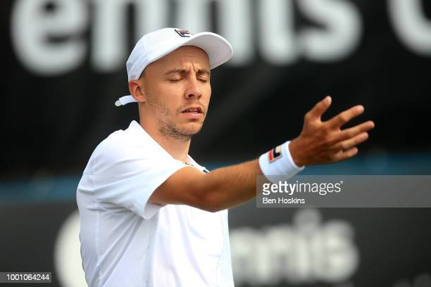 Andy Lapthorne of Great Britain reacts during his match against Ymanitu Silva of Brazil on day two of The British Open Wheelchair Tennis...