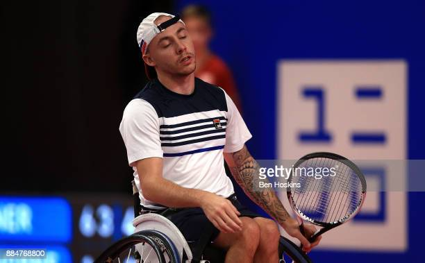 Andy Lapthorne of Great Britain reacts during the mens quad final against David Wagner of The USA on day five of The NEC Wheelchair Tennis Masters at...