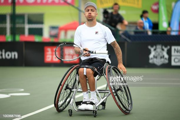 Andy Lapthorne of Great Britain reacts during the the men's quad final against David Wagner of The USA on day six of The British Open Wheelchair...
