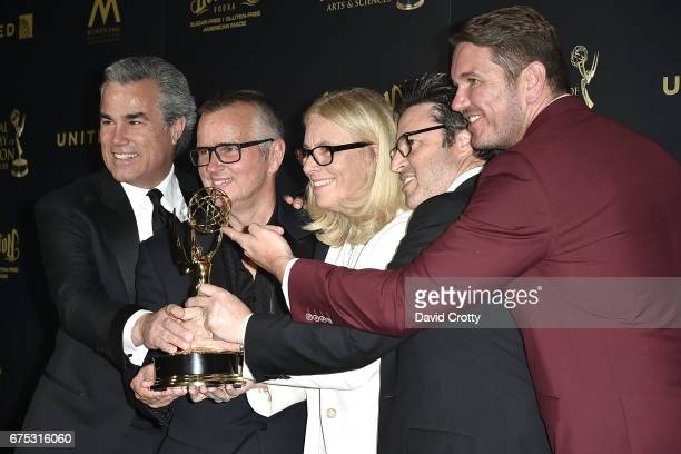 Andy Lassner Jonathan Norman Mary Connelly Ed Glavin and Kevin Leman attend the 44th Annual Daytime Emmy Awards Press Room at Pasadena Civic...