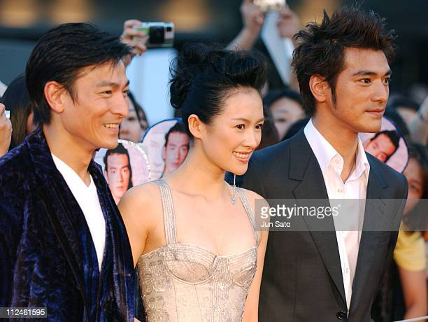 Andy Lau Ziyi Zhang and Takeshi Kaneshiro during 'Lovers' Tokyo Premiere Arrivals at NHK Hall in Tokyo Japan