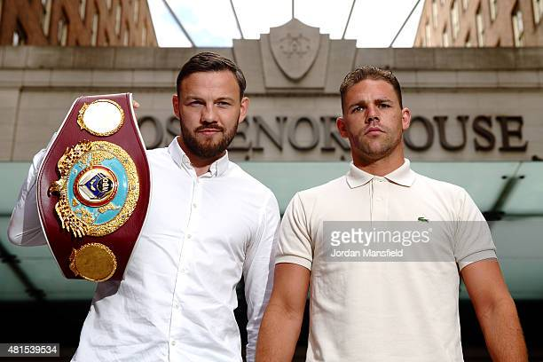 Andy Lee and Billy Joe Saunders pose for a photo ahead of the Andy Lee and Billy Joe Saunders Press Conference at the Grosvenor House Hotel on July...
