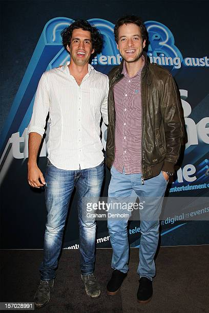 Andy Lee and Hamish Blake pose at the Nine 2013 program launch at Myer on November 28 2012 in Melbourne Australia