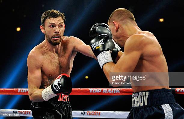 Andy Lee and Matt Korobov battle during their fight for a vacant WBO middleweight title at The Chelsea at The Cosmopolitan of Las Vegas on December...