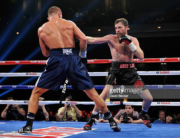 Andy Lee and Matt Korobov battle it out during their fight for a vacant WBO middleweight title at The Chelsea at The Cosmopolitan of Las Vegas on...