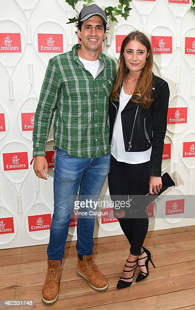 Andy Lee and Rebecca Harding pose for a photo at the Australian Open Emirates Suite for a cocktail reception at Melbourne Park on January 27 2015 in...