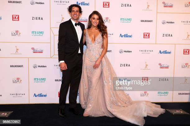 Andy Lee and wife Rebecca Harding arrives at the 60th Annual Logie Awards at The Star Gold Coast on July 1 2018 in Gold Coast Australia