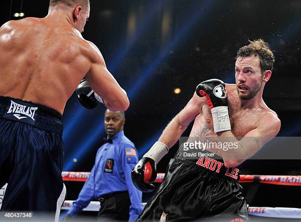 Andy Lee avoids a punch from Matt Korobov duirng their fight for a vacant WBO middleweight title at The Chelsea at The Cosmopolitan of Las Vegas on...