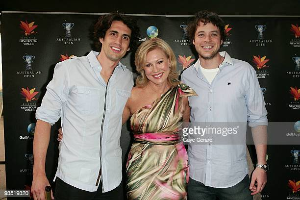 Andy Lee KerriAnne Kennerley and Hamish Blake pose during the Australian Open Gala Cocktail Function at the Sydney Opera House on December 1 2009 in...