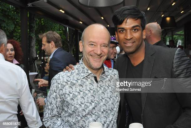 Andy Lee Lang and Ramesh Nair pose during the 'Die Allee zum Genuss' restaurant opening party on May 24, 2017 in Vienna, Austria.