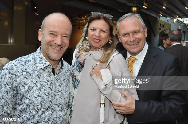 Andy Lee Lang, Angelika Puerstl and Gerhard Puerstl pose during the 'Die Allee zum Genuss' restaurant opening party on May 24, 2017 in Vienna,...