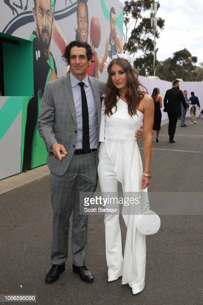 Andy Lee Rebecca Harding pose at Derby Day at Flemington Racecourse on November 3 2018 in Melbourne Australia