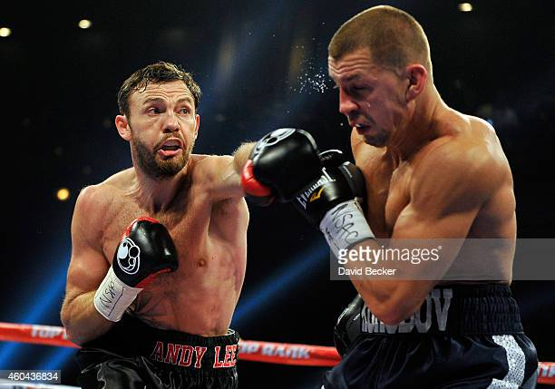 Andy Lee throws a left at Matt Korobov during their fight for a vacant WBO middleweight title at The Chelsea at The Cosmopolitan of Las Vegas on...