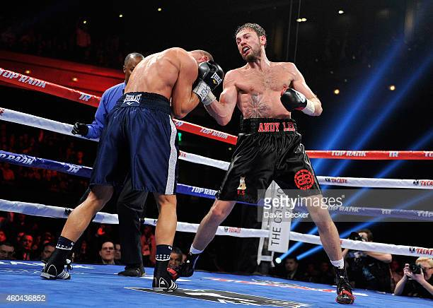 Andy Lee throws a right at Matt Korobov during their fight for a vacant WBO middleweight title at The Chelsea at The Cosmopolitan of Las Vegas on...