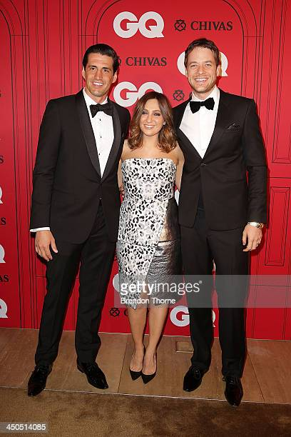 Andy Lee Zoe Foster and Hamish Blake arrives at the GQ Men of the Year awards at the Ivy Ballroom on November 19 2013 in Sydney Australia